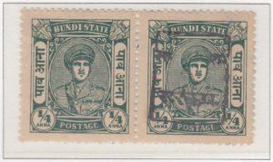 rajasthan-bundi-02-quarter-anna-blue-green-pair-one-no-overprint