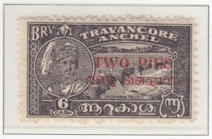 travancore-cochin-05-two-pies-on-six-cash-blackish-violet-perforated-eleven