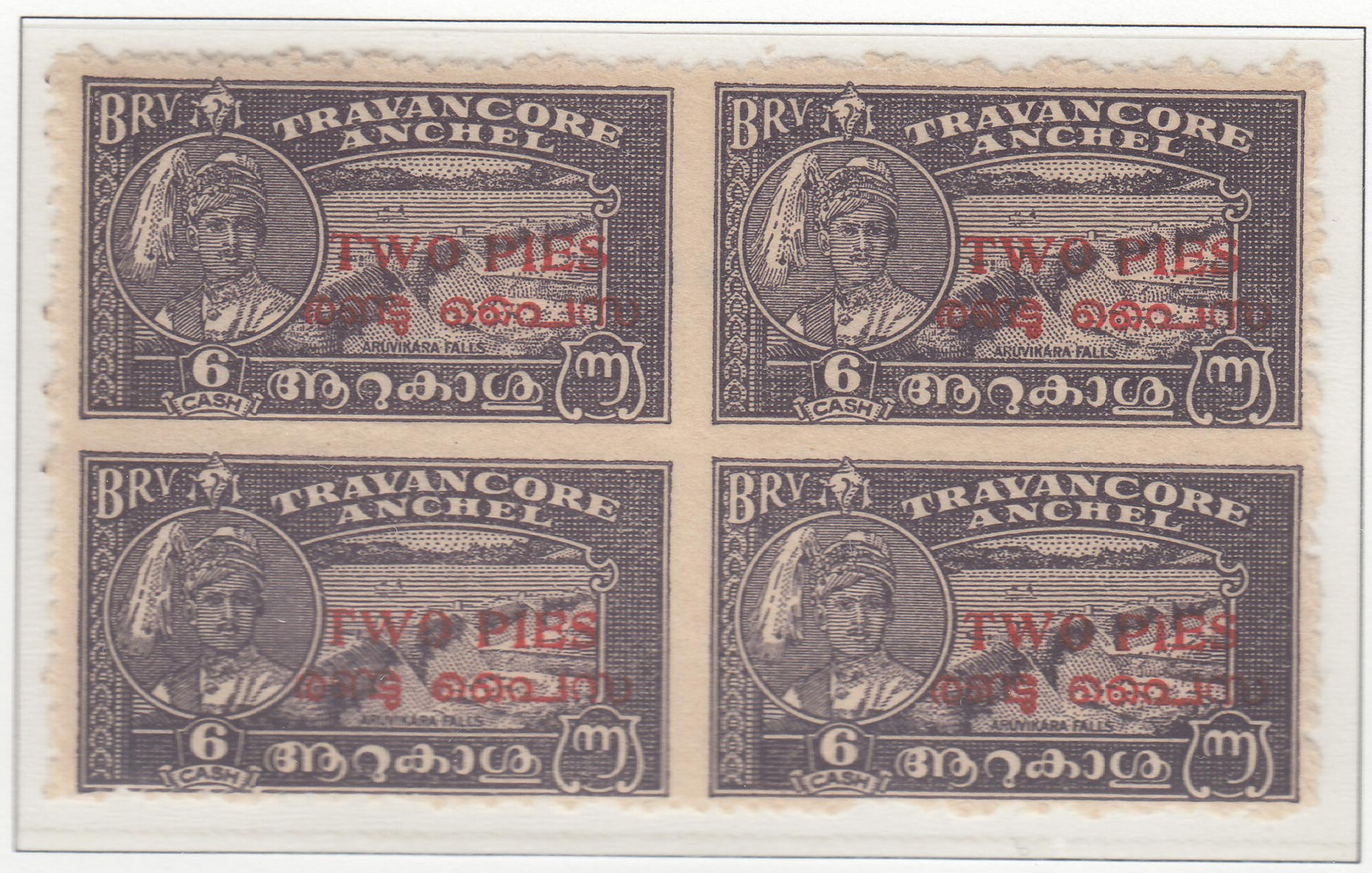 travancore-cochin-08-two-pies-on-six-cash-blackish-violet-perforated-12-block-of-four--imperforate-between-both